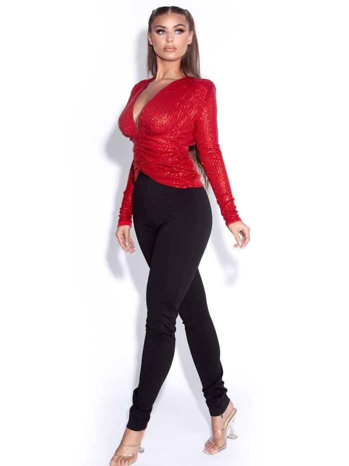 Tate Red Sequined Long Sleeve Deep V-Top - BLK PYTHON BOUTIQUE