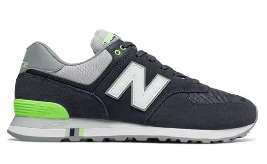 New Balance 574 - Navy White Volt Green Grey
