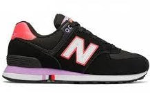 New Balance 574 Women's - Black Hot Pink Purple
