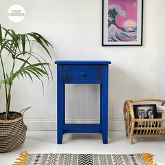 side table painted cobalt blue