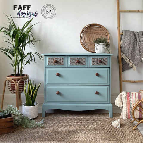 stag minstrel chest of drawers painted blue