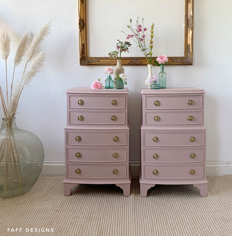vintage bedside tables painted in dixie belle tea rose