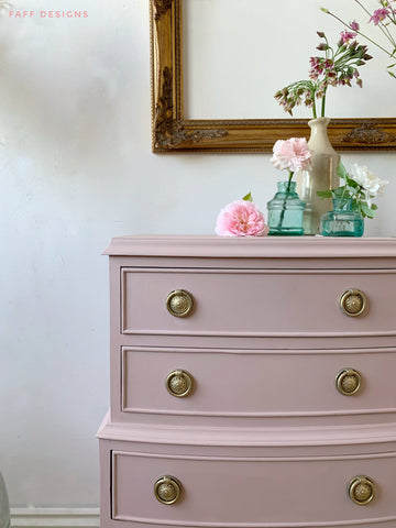 bedside tables painted in dixie belle tea rose