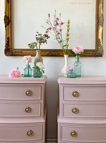 vintage bedside tables painted in tea rose pink