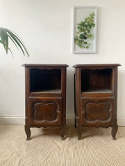 vintage oak french bedside tables