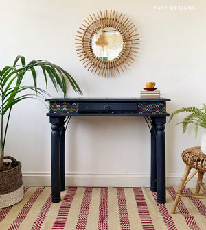 rustic boho console table painted navy blue, faff designs, furniture painter, burton on trent
