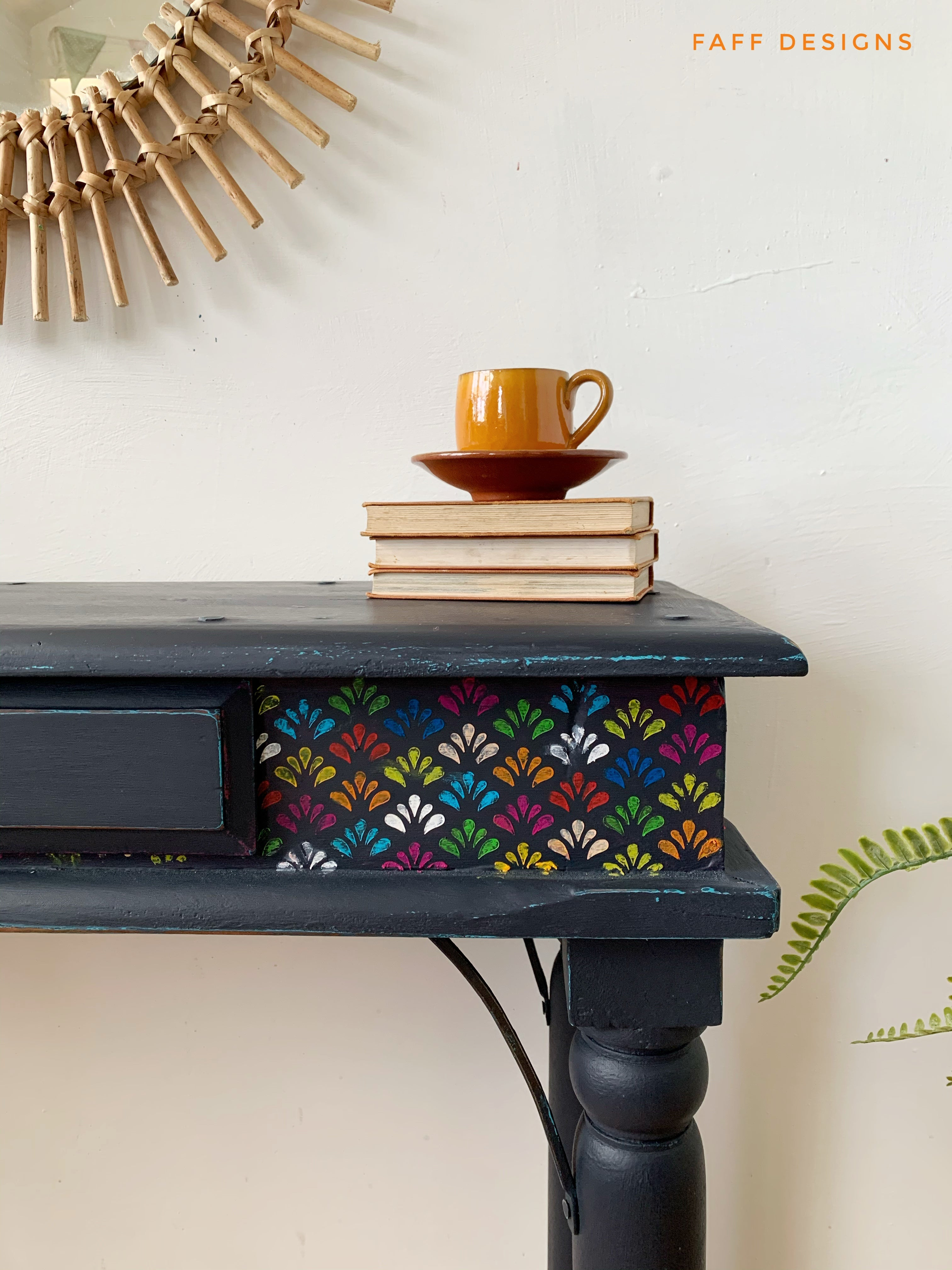 Boho Console Table Painted Navy Blue
