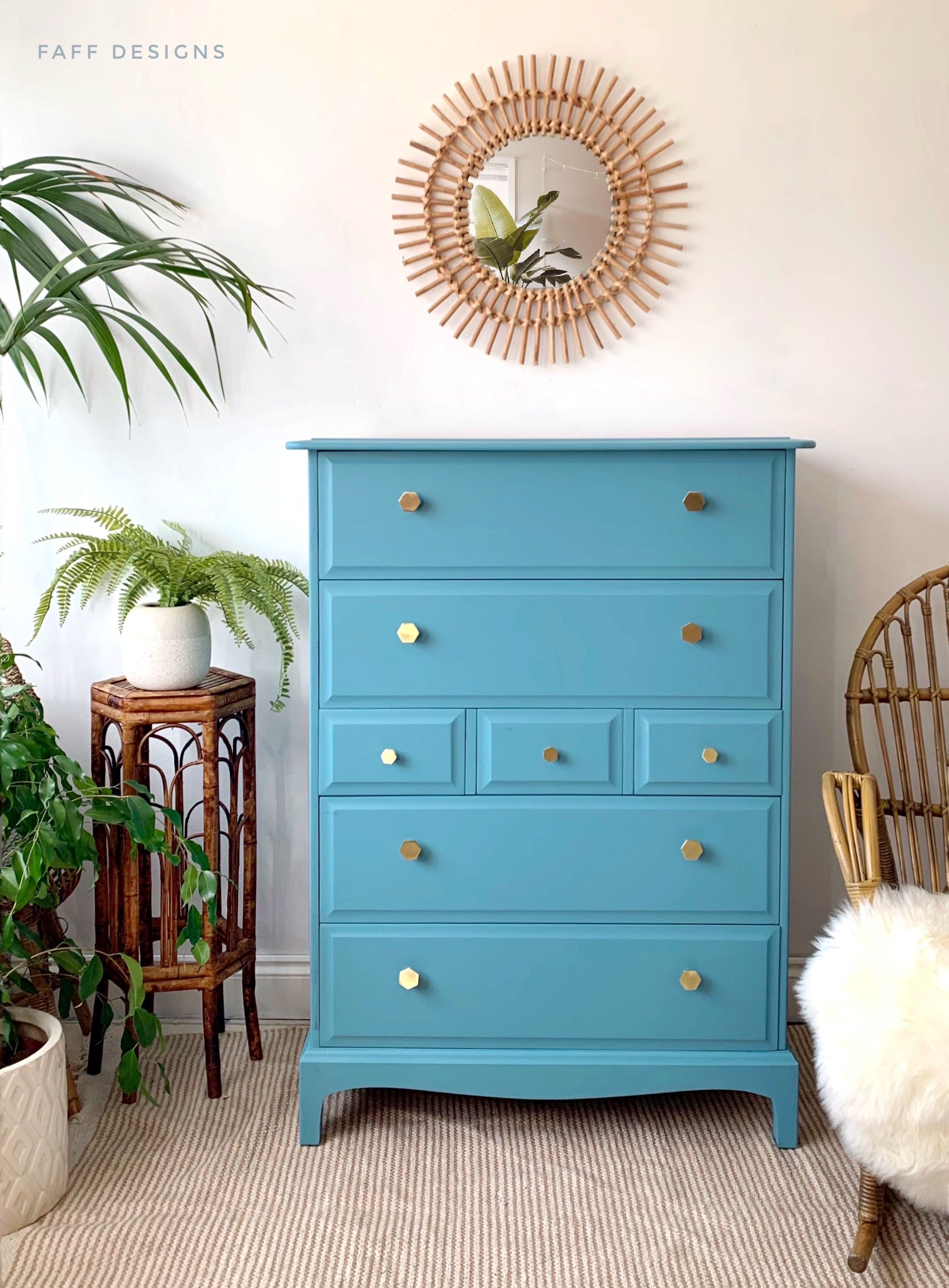 Stag Minstrel Tallboy Chest of Drawers Painted Blue