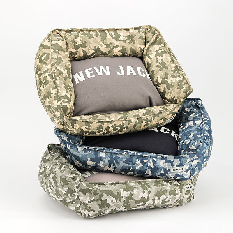 VEGAN LEATHER CAMO BED(GRAY)
