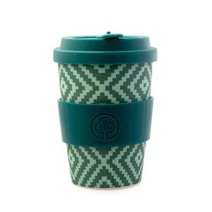 Bamboo Eco Cup 400ml Green Geometric