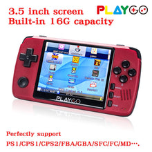Load image into Gallery viewer, NEW Version Red Playgo 3.5 inch screen portable handheld game console with 16GB SD Card built in games emulator pocket console