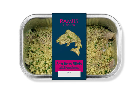 Seabass with Cheddar Lemon & Parsley Crumb - Ramus Seafoods