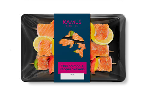 Chilli Salmon and Pepper Skewers - Ramus Seafoods