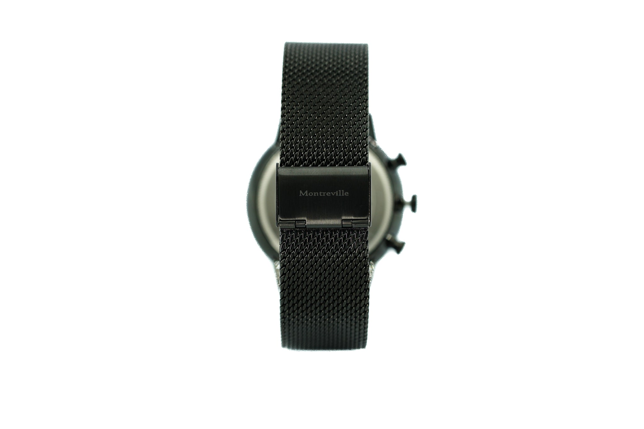 Black watch called Baku from the brand Montreville, seen from the back. This is an image of the watch with a white background. The timepiece has a unique design with a mesh strap in black.