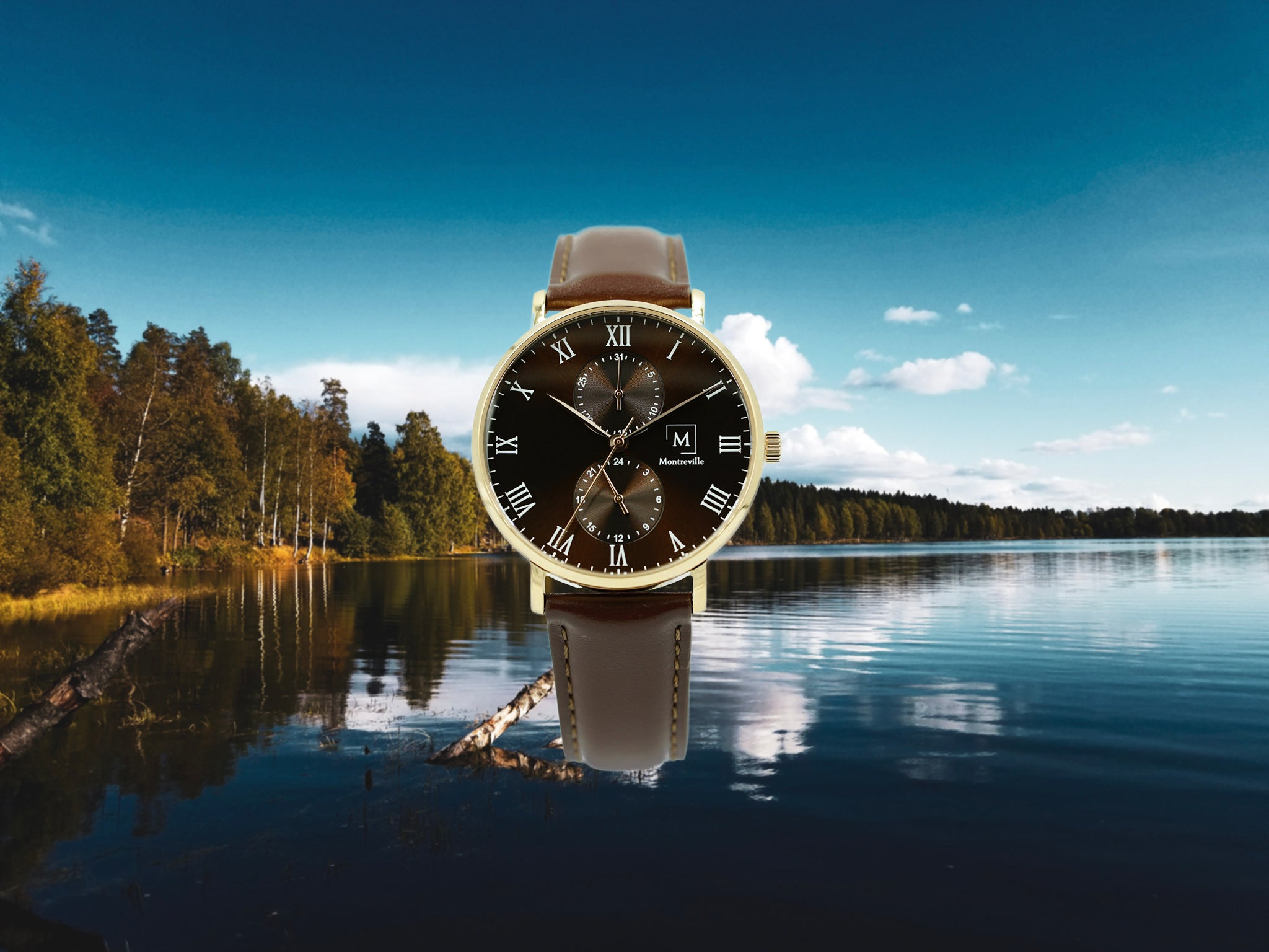 Brown watch called Oslo from the brand Montreville. This is an image of the watch with a picture of a lake and forest in the city of Oslo in the background. The timepiece has an elegant design with roman numerals in white and a dark brown leather strap. The case is rosé gold.