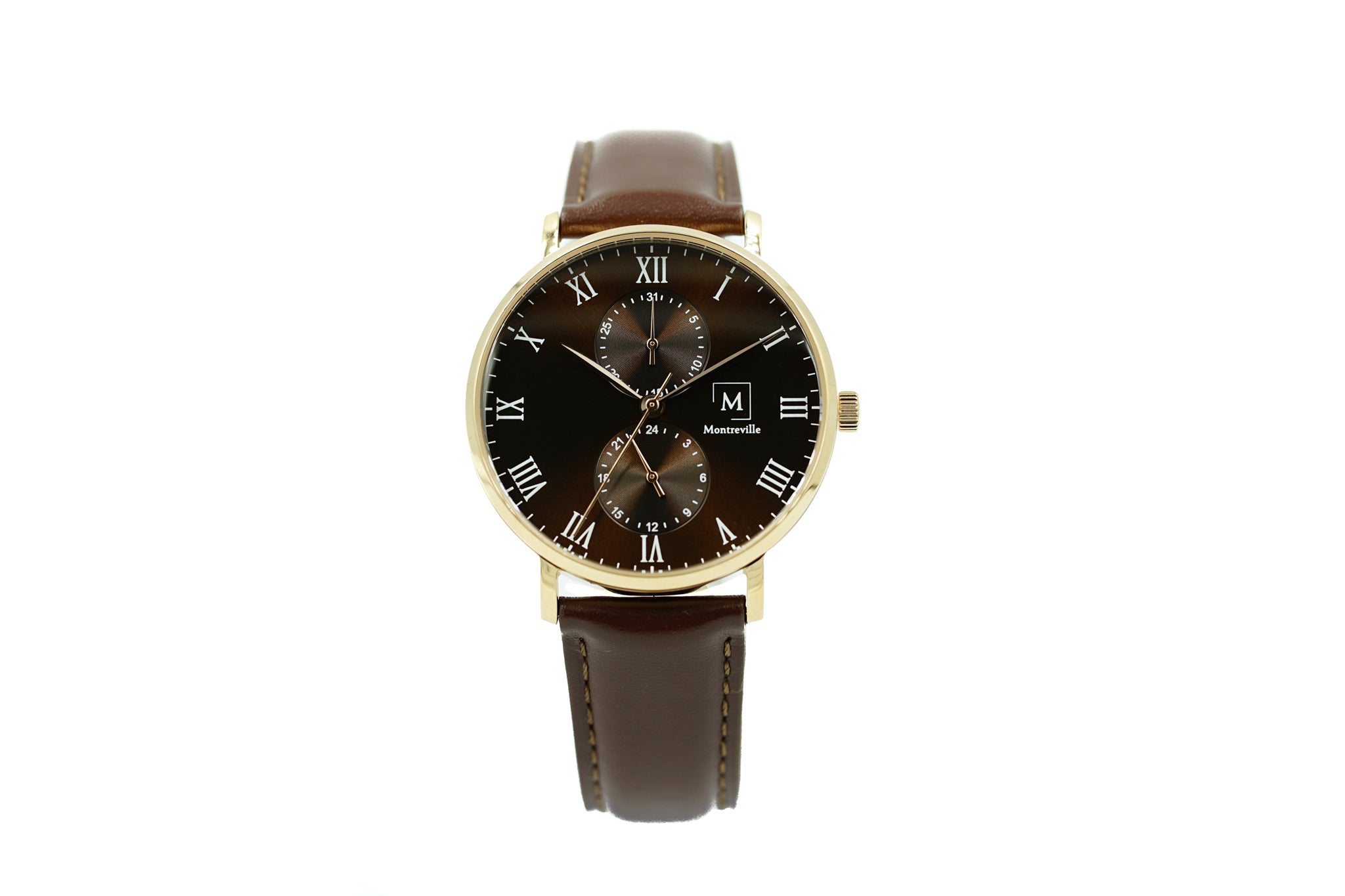 Brown watch called Oslo from the brand Montreville. This is an image of the watch with a white background. The timepiece has an elegant design with minimalistic lay-out. It has roman numerals in white and a dark brown leather strap. The case is in rosé gold.