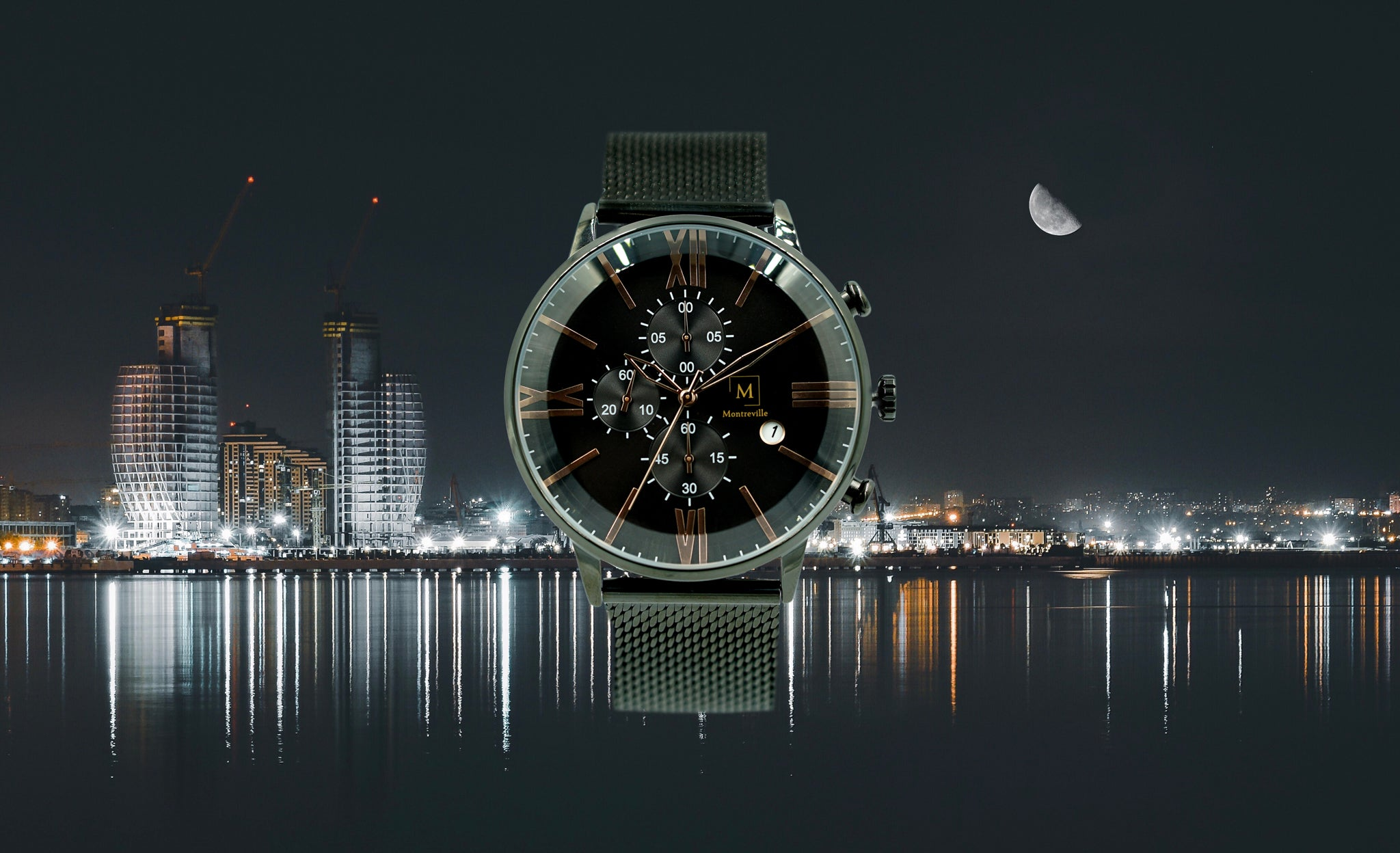 Black watch called Baku from the brand Montreville. This is an image of the watch with a picture of the city of Baku at night in the background. The timepiece has a unique design with a large glass, roman numerals in rosé gold, a stopwatch and date. The Baku timepiece has a mesh strap in black.