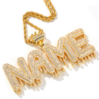Goddess Drip Nameplate Necklace - Martini Gems