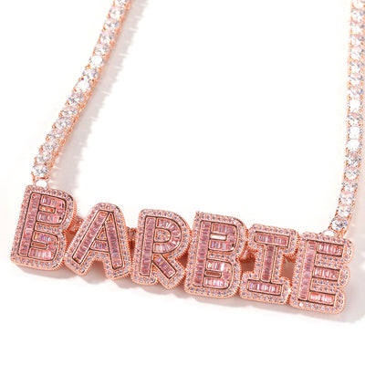 Baguette Tennis Chain Custom Nameplate - Martini Gems