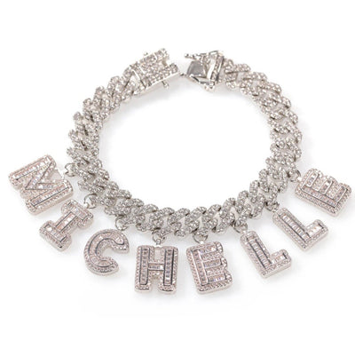 Baguette Letter Charms Cuban Necklace - Martini Gems