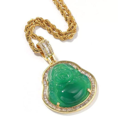 Rhinestone Jade Buddha Necklace - BB Goddess Boutique