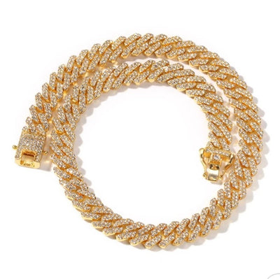 12mm Rhinestone Bling Cuban Link Necklace - BB Goddess Boutique