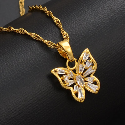 Small Cubic Zirconia Butterfly Necklace - BB Goddess Boutique