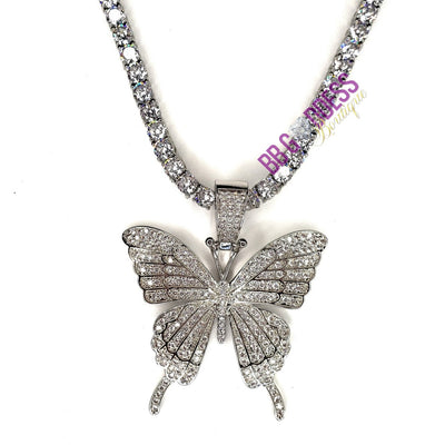 """Iniko"" Butterfly Tennis Chain Necklace - Martini Gems"