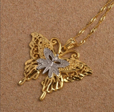 Two Tone Butterfly Charm Pendant Necklace - Martini Gems
