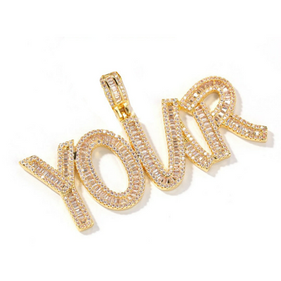 Icy Custom Baguette Nameplate Set - Martini Gems
