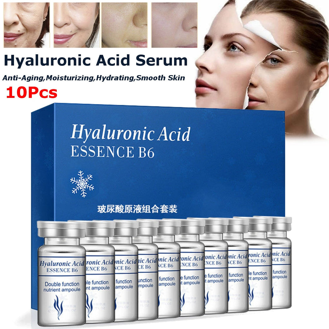 10Pcs Vitamin Hyaluronic Acid Serum Moisturizer Facial Skin Care Set Anti Wrinkle Anti Aging Collagen Essences Liquid