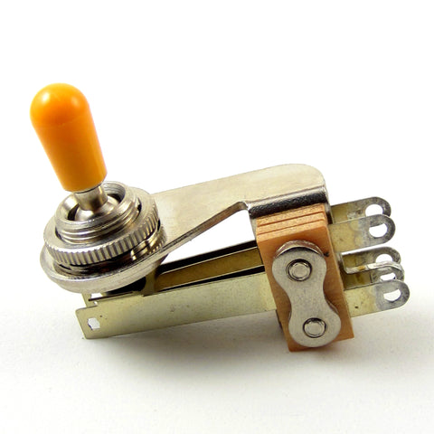 "Switchcraft 3-Way Right Angle ""L-Type"" Toggle Switch w/ Amber Switchcraft Tip"