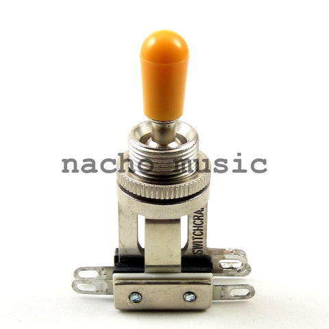 Switchcraft 3-Way Short Toggle Switch w/ Amber Switchcraft Tip