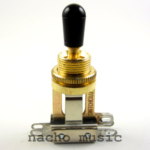Switchcraft 3-Way Gold-Tone Short Toggle Switch w/ Black Switchcraft Tip