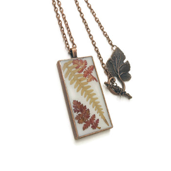 Real leaf jewelry copper pendant. Natural jewelry gifts for teacher
