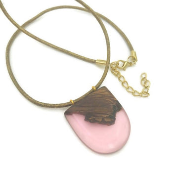 wood necklace, nature inspired pink necklace made from natural wood and resin, unique gifts for her,