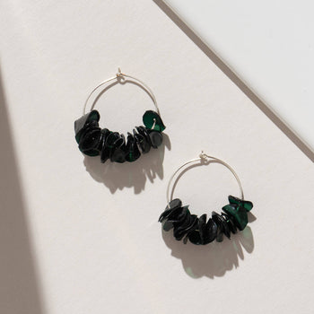 Dark Green Hoops - Sustainable Earrings from Plastic