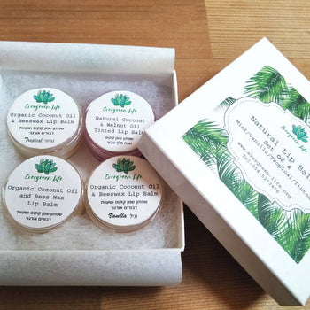 Set of four natural lip balms