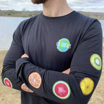 100% Organic long sleeve - PEACE OF FRUIT – BLACK – UNISEX
