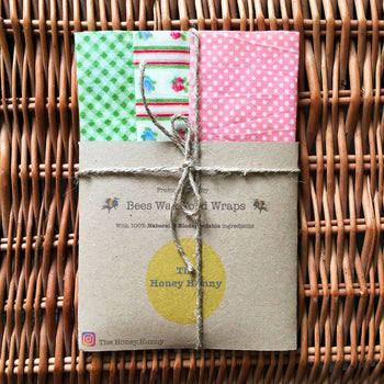 Organic, Bees wax food wraps, mixed green and pink X3