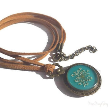 Teal boho necklace, pressed flower pendant, gift for woman