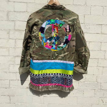Patchwork Peace Camo Jacket