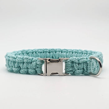Light blue recycled cotton macrame dog collar with side release buckle