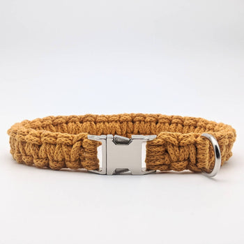 Mustard yellow recycled cotton macrame dog collar with side release buckle
