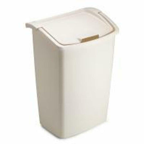 Rubbermaid Trash Can Open Lid Wide Swing Fits Tall Kitchen Bags 11.25 Gal White