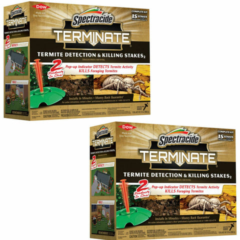 2-PACK Spectracide Terminate Termite Detection and Killing Stakes (15-Count) NEW