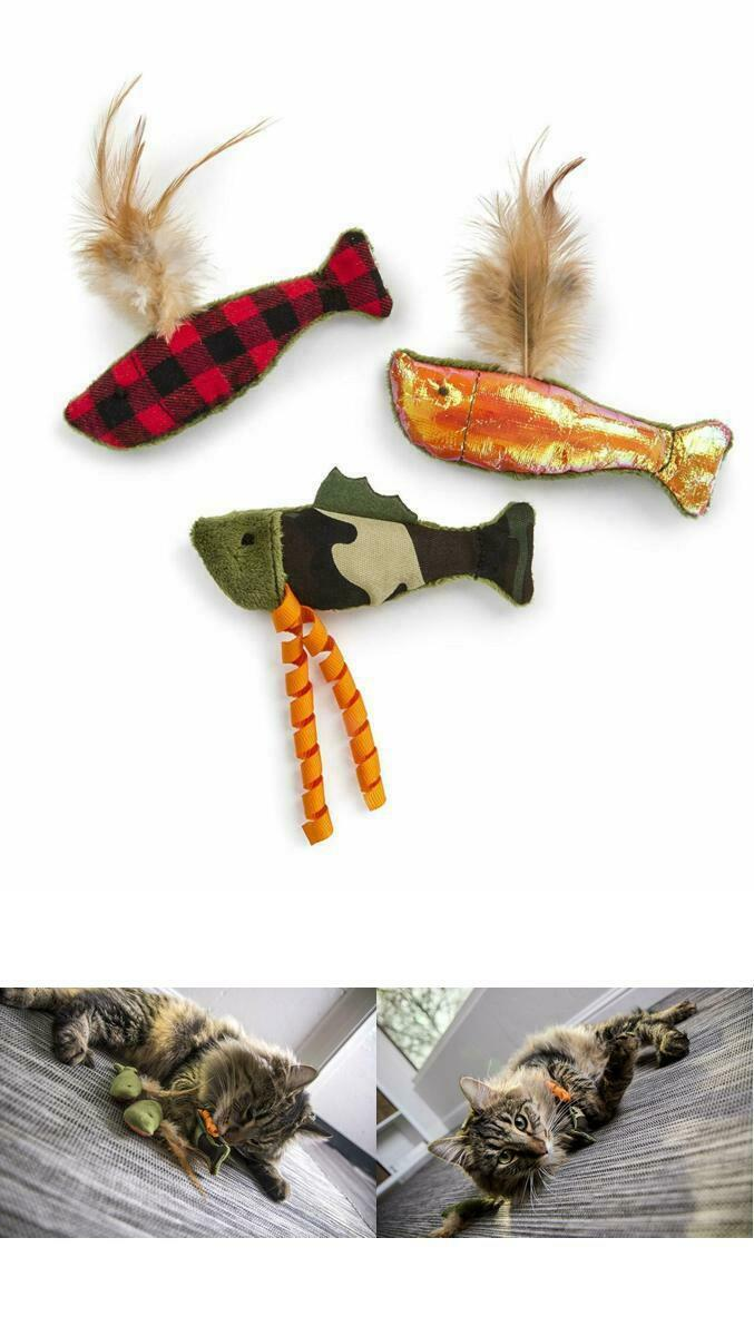 Multi-Texture Catnip Cat Toys Pet Play Activity Fish Feathers Crinkle Energetic