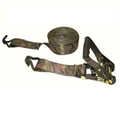 Padded Camo Heavy-duty Ratchet Tie Down Double J-Hooks 16 ft x 2 in x 10000 lbs