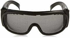 Wire Mesh Safety Glasses Matte Black Frame Protection Anti-Fog Elastic Strap