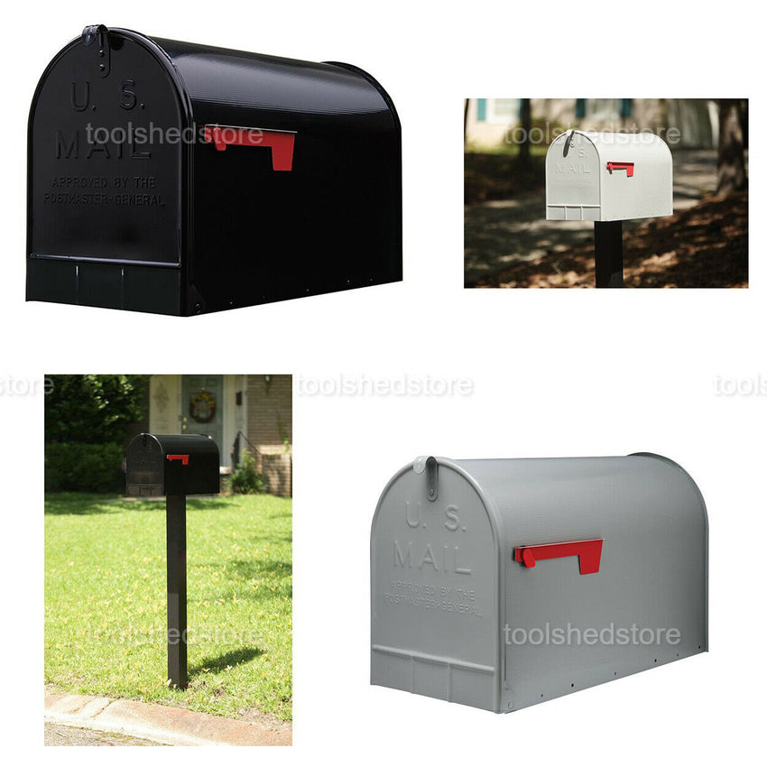 Post Mount Mailbox Durable Galvanized Steel Extra Large Flag Door Home Black NEW